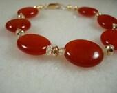 Rustic Red Carnelian, Citrine and 14k Gold Bracelet, Karolin
