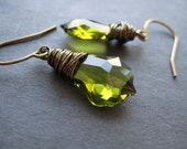 Poison Ivy - Wire Wrapped Olivine Swarovski Crystal Baroque and Antique Brass Earrings.