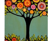 "Digital Print from original painting ""Tree with flowers"" by Elina Lorenz colorful and bright"