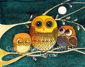 "Print from Original watercolor painting""Owls at night"" by Elina Lorenz"