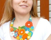 One of a kind Colorful crocheted necklace with glass beads for ladies by Elina Lorenz