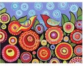 Folk art birds flowers, room decor, black, colorful art