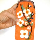 Wet Felted Iphone Case, glass case or coin purse , hand made with metal clutch ready to ship,gift under 50, flowers in bloom