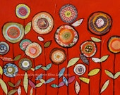 Art print from my original acrylic painting Flowers on red by Elina Lorenz