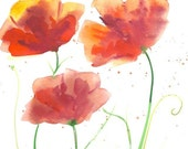 Organic Art Original watercolor painting of 3 red poppies by Elina Lorenz, wall art.