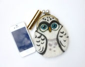 Snowy Owl Hand felted purse for Iphone, make up or money. One of a kind gift under 60