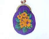 Wet Felted Purse /Purple /Yellow Flowers coin purse with metal closure Make Up Purse/ gift for her