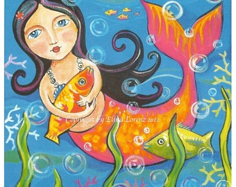Child Room Decor Mermaid Art Print from Original Acrylic Painting Wall Art-Sea Life Fairy Tale - Folk Art