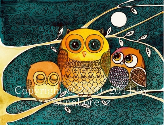 """Print from Original watercolor painting""""Owls at night"""" by Elina Lorenz"""