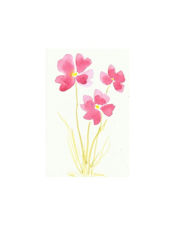 Organic Art Original watercolor painting of Pink flowers by Elina Lorenz, wall art.