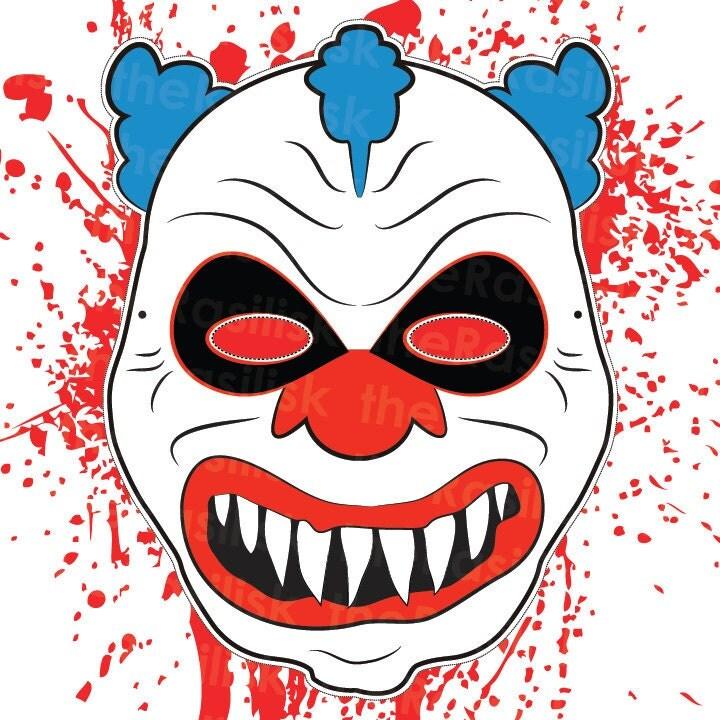 Scary Clown Mask Halloween Mask Clown Mask by theRasilisk Scary Halloween Clown Masks
