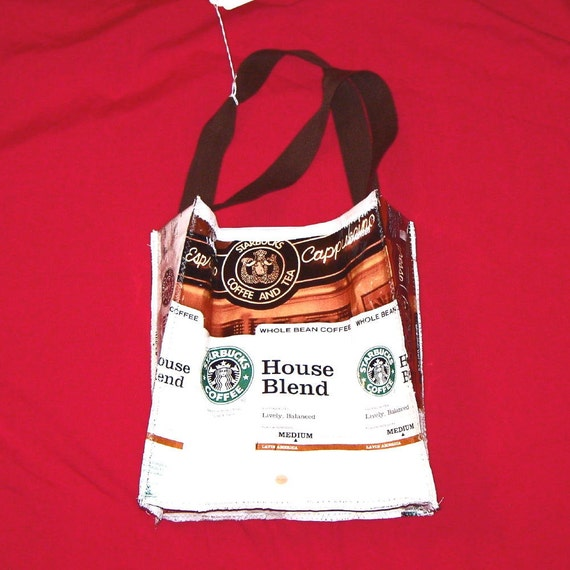 Go Green Lunch Bag made with Recycled Coffee bags upcycled repurposed