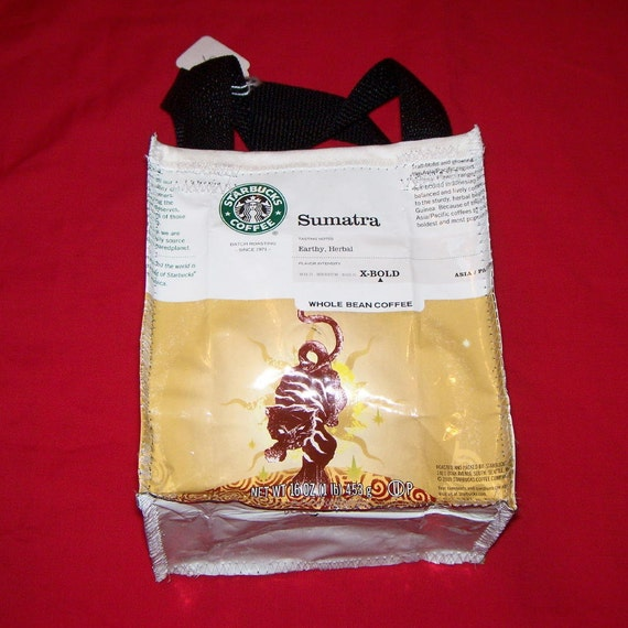 Recycled Coffee Bag Purse or Lunch Bag made with Recycled STARBUCKS Coffee bags repurposed