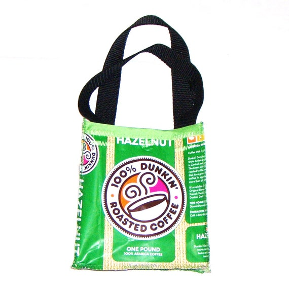 Fun Eco Friendly Purse made with Recycled Dunkin Donuts Coffee bags upcycled repurposed