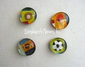 Sports Theme Set of 4 Glass Marble Magnets