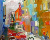 Kearny Life Art Print / 11 x 14 / Red - Orange - Blue - Green / Abstract Chinatown - San Francisco / Signed Print