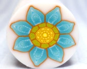 Turquoise Blue polymer clay millefiori flower cane