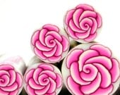 Polymer clay millefiori cane -  Pink Rose Flower