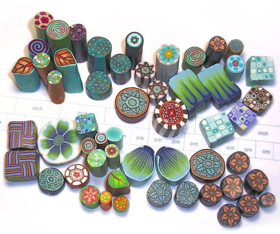 Green Meadow Collection of Various Polymer Clay Millefiori Cane Ends