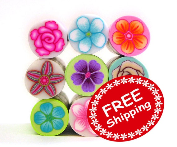 9 CANES - Clearance Sale - Polymer clay Millefiori Canes assortment - Original size canes Collection - Free Shipping
