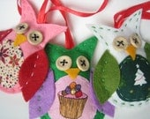 Set of 3 owls Christmas tree decorations