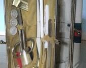 Vintage Manicure Kit Sewing Kit Canvas Change Purse Make up bag