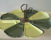 Vintage Superlon Lazy Susan Snack Tray Avocado Green 1970s