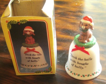 Vintage JSNY Christmas Bell - Dog with Santa Hat - Deck The Halls Bell - JSNY Taiwan - Holiday Decor - Santa Dog Bell