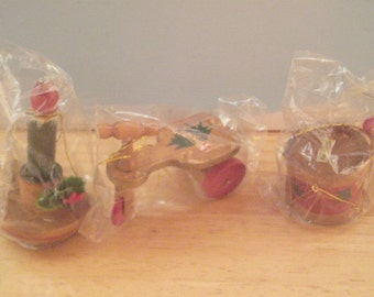 Vintage Wood Christmas Ornaments - Small Wood Ornaments - Set Of 3 - Push Car - Candle - Drum - Original Packages - Mini Ornaments