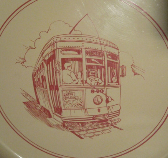 Vintage Serving Tray New Orleans Trolley Made In Japan