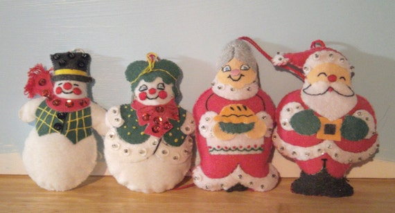 Vintage Christmas Ornaments Handmade Santa Mrs.Clause and Snowman Couple