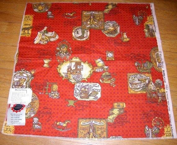 Rare Vintage Fabric - Kitchen Print - Fabric Sampler Panel - Kitchen Fabric Sampler - Calico Red - Clipper Cloth - Sellers Showroom Sample