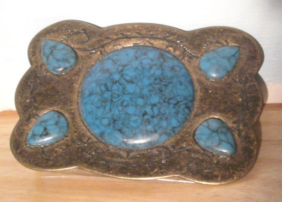 Vintage Belt Buckle - Faux Turquoise and Gold Tone Brass - Decorative Belt Bucklel - Mens Belt Buckle - Ladies Belt Buckle