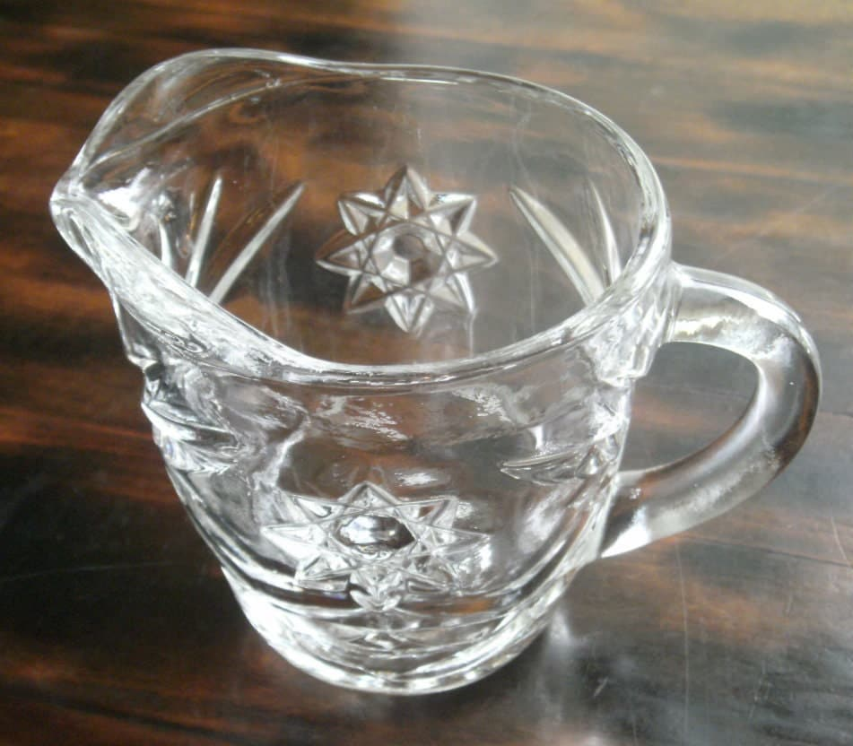 Vintage cut glass creamer star of david pattern glass - Starburst glassware ...