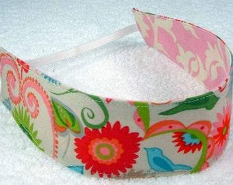 Cotton reversible headband pink green red words flowers, child fabric headband, baby toddler girl teen woman m2m headband, girl party favor