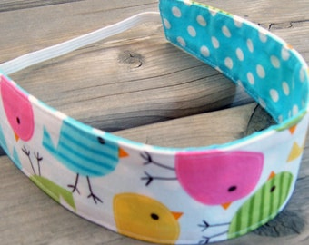 Reversible headband pastel birds child headband cotton hair band toddler blue dot birdie green yellow pink party favor girl party favor gift