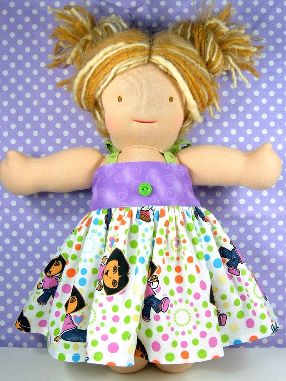 Waldorf Bamboletta halter dress - Also fits most 15 or 16 inch Waldorf dolls and 18 inch American Girl dolls - Dora - Robe poupée