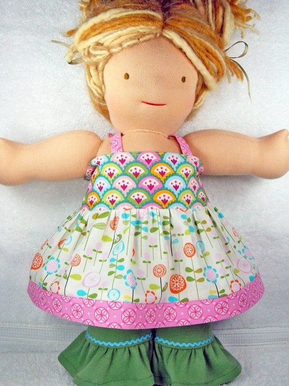 Waldorf doll top and knit ruffles set - Ellie style 2 pcs outfit for Bamboletta or 15/16 inch Waldorf doll - Ensemble robe pantalon