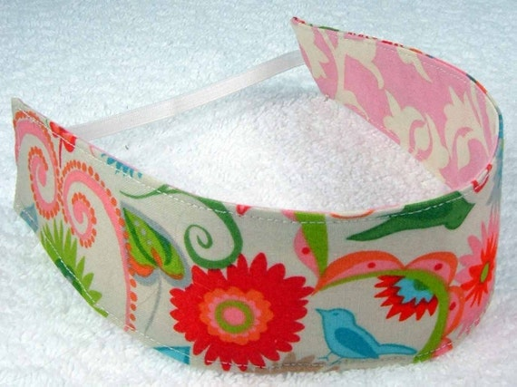 Children reversible headband - M2M Matilda Jane flowers pink cotton fabric little girl toddler party favor - Bandeau - Ready to ship