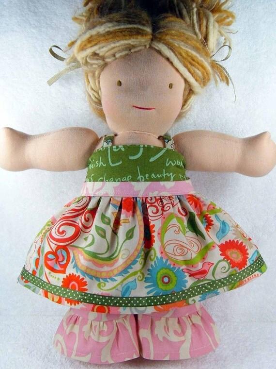 Waldorf doll dress and pants set - 16 inch Bamboletta American Girl doll pink green M2M Matilda Jane - Robe et pantalon