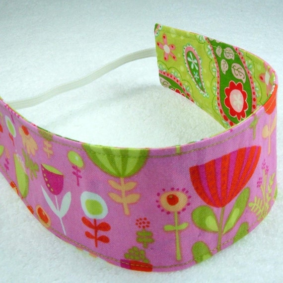 Children reversible headband - Designer fabric cotton paisley flowers poppies pink lime green red kid girly - Bandeau - Ready to ship