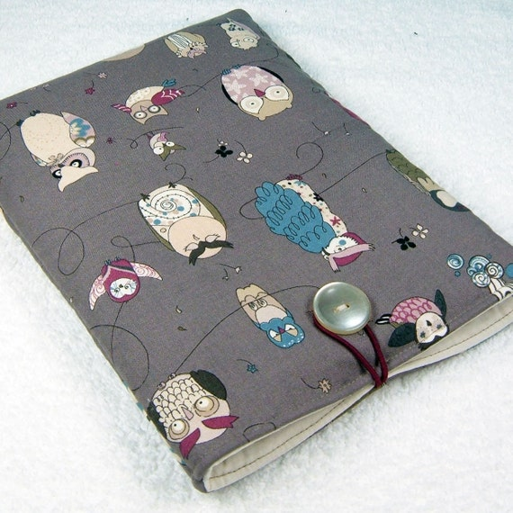 Kindle padded case - Kobo Nook Color Galaxy Tab Kindle 1 2 3 4 Kindle Fire - Alexander Henry Spotted Owls classy gray teal - Étui