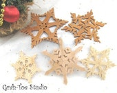 Ornaments Wooden Snowflakes Decorations Christmas Hanukkah Holidays Winter Garland Ornament