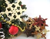 Ornaments Wooden Snowflakes Decorations Christmas Yule Hanukkah Holidays Winter Garland Ornament