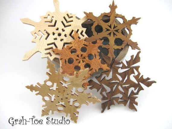 Stars Wooden Snowflakes Decorations Box of 5 handmade