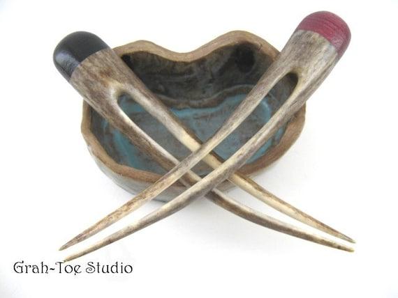 Hair Sticks Pair Shed Antler Ebony and Purple Heart Wood Topper Hairsticks Hairforks Grahtoestudio Handmade