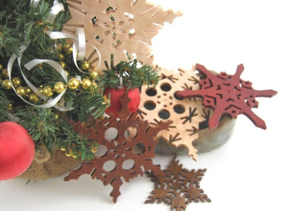 Ornaments Wooden Star Garland  Snowflakes Decorations Christmas Yule Hanukkah Grahtoe