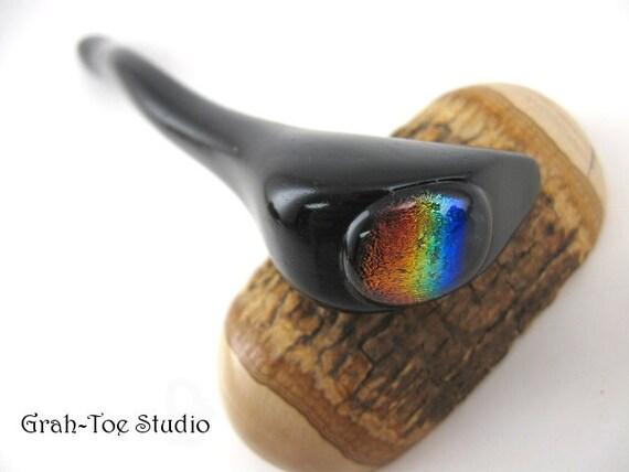 Hair Stick Ebony Wood Rainbow Dichroic Glass Cab  Handmade Grahtoe