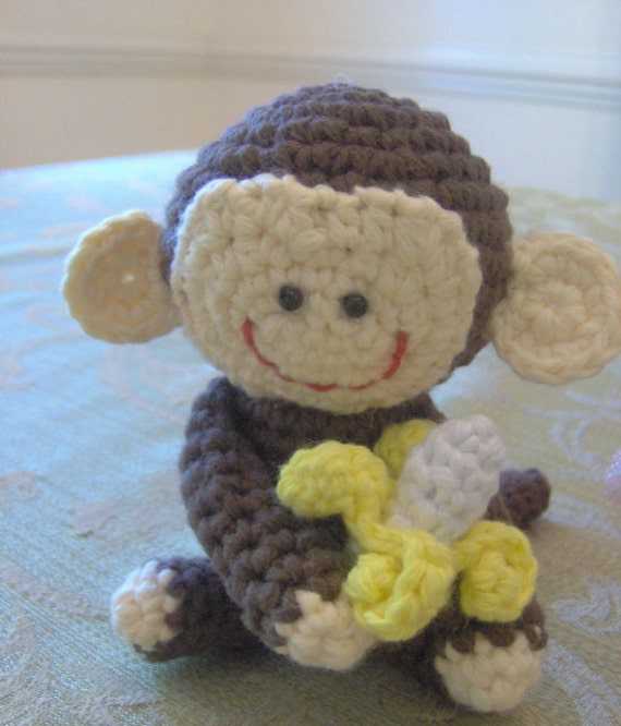 Amigurumi Monkey Etsy : Handmade Amigurumi Monkey with Banana Toy by FairyTaleDSigns