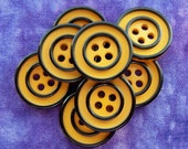 Mod Vintage Buttons 18mm - 5/8 inch Two Tone Gold Yellow Plastic Buttons with Black Ring-around Stripes - 9 VTG Yellow Sewing Buttons PL058